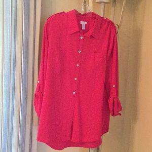 Chico,s red tunic blouse,Sz 2